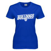 Ladies Royal T Shirt-Bulldogs Slanted
