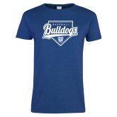 Ladies Royal T Shirt-Bulldogs Baseball Script w/ Plate