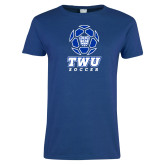 Ladies Royal T Shirt-TWU Soccer w/ Geometric Ball