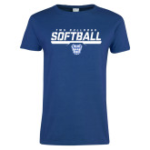 Ladies Royal T Shirt-TWU Bulldogs Softball Stencil