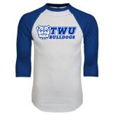 White/Royal Raglan Baseball T Shirt-TWU Bulldogs Stacked w/ Bulldog