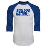 White/Royal Raglan Baseball T Shirt-Bulldog Nation