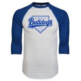 White/Royal Raglan Baseball T Shirt-Bulldogs Baseball Script w/ Plate