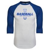 White/Royal Raglan Baseball T Shirt-Baseball Stencil w/ Ball