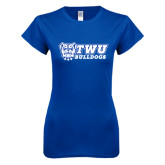 Next Level Ladies SoftStyle Junior Fitted Royal Tee-TWU Bulldogs Stacked w/ Bulldog