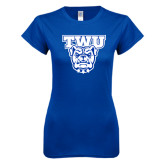 Next Level Ladies SoftStyle Junior Fitted Royal Tee-TWU w/ Bulldog Head