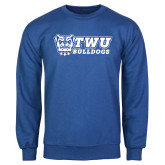 Royal Fleece Crew-TWU Bulldogs Stacked w/ Bulldog