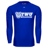 Under Armour Royal Long Sleeve Tech Tee-TWU Bulldogs Stacked w/ Bulldog