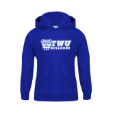 Youth Royal Fleece Hoodie-TWU Bulldogs Stacked w/ Bulldog