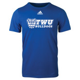 Adidas Royal Logo T Shirt-TWU Bulldogs Stacked w/ Bulldog