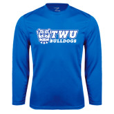 Performance Royal Longsleeve Shirt-TWU Bulldogs Stacked w/ Bulldog