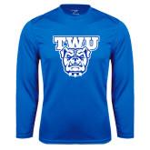 Performance Royal Longsleeve Shirt-TWU w/ Bulldog Head
