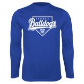 Performance Royal Longsleeve Shirt-Bulldogs Baseball Script w/ Plate