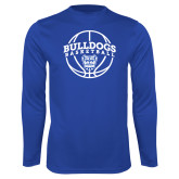 Syntrel Performance Royal Longsleeve Shirt-Bulldogs Basketball Arched w/ Ball