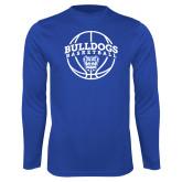 Performance Royal Longsleeve Shirt-Bulldogs Basketball Arched w/ Ball