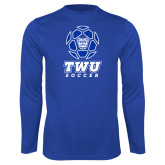 Performance Royal Longsleeve Shirt-TWU Soccer w/ Geometric Ball