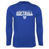 Performance Royal Longsleeve Shirt-TWU Bulldogs Softball Stencil