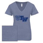 ENZA Ladies Surfer Blue Melange V Neck Tee-Official Logo Dark Blue Glitter