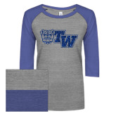 ENZA Ladies Athletic Heather/Blue Vintage Baseball Tee-Official Logo Dark Blue Glitter