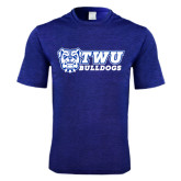 Performance Royal Heather Contender Tee-TWU Bulldogs Stacked w/ Bulldog