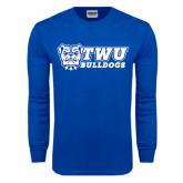 Royal Long Sleeve T Shirt-TWU Bulldogs Stacked w/ Bulldog