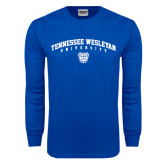 Royal Long Sleeve T Shirt-Tennessee Wesleyan University Arched w/ Logo