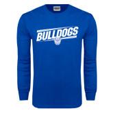 Royal Long Sleeve T Shirt-Bulldogs Slanted