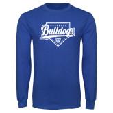 Royal Long Sleeve T Shirt-Bulldogs Baseball Script w/ Plate