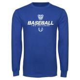 Royal Long Sleeve T Shirt-Baseball Stencil w/ Ball