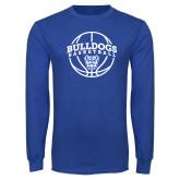 Royal Long Sleeve T Shirt-Bulldogs Basketball Arched w/ Ball