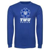 Royal Long Sleeve T Shirt-TWU Soccer w/ Geometric Ball