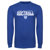 Royal Long Sleeve T Shirt-TWU Bulldogs Softball Stencil