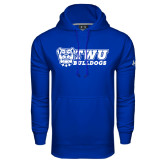 Under Armour Royal Performance Sweats Team Hoodie-TWU Bulldogs Stacked w/ Bulldog