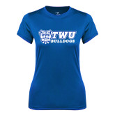 Ladies Syntrel Performance Royal Tee-TWU Bulldogs Stacked w/ Bulldog