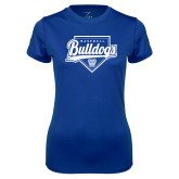 Ladies Syntrel Performance Royal Tee-Bulldogs Baseball Script w/ Plate