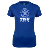 Ladies Syntrel Performance Royal Tee-TWU Soccer w/ Geometric Ball