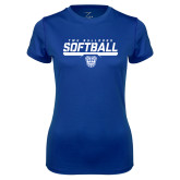 Ladies Syntrel Performance Royal Tee-TWU Bulldogs Softball Stencil