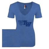 Next Level Ladies Vintage Royal Tri Blend V-Neck Tee-Official Logo Dark Blue Glitter