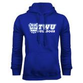 Royal Fleece Hoodie-TWU Bulldogs Stacked w/ Bulldog