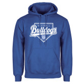 Royal Fleece Hoodie-Bulldogs Baseball Script w/ Plate