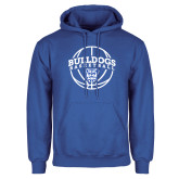 Royal Fleece Hoodie-Bulldogs Basketball Arched w/ Ball