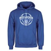 Royal Fleece Hoodie-Bulldogs Basketball Arched w/ Ball