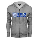 ENZA Ladies Grey Fleece Full Zip Hoodie-TWU Bulldogs Stacked w/ Bulldog