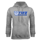 Grey Fleece Hoodie-TWU Bulldogs Stacked w/ Bulldog