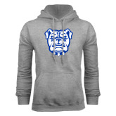 Grey Fleece Hoodie-Bulldog Head