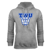 Grey Fleece Hoodie-TWU w/ Bulldog Head