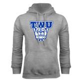 Grey Fleece Hoodie-TWU w/ Bulldog Head