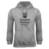 Grey Fleece Hoodie-University Logo Stacked
