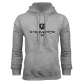 Grey Fleece Hoodie-University Logo Vertical
