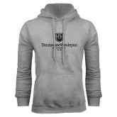Grey Fleece Hoodie-University Logo Vertical